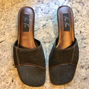 Shoes - Fou Fou Dark Denim Kitten Heel Slip On Shoes Size9